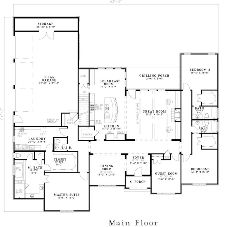 Best 25+ One Level House Plans Ideas On Pinterest | One Level Homes, One  Floor House Plans And Ranch House Plans