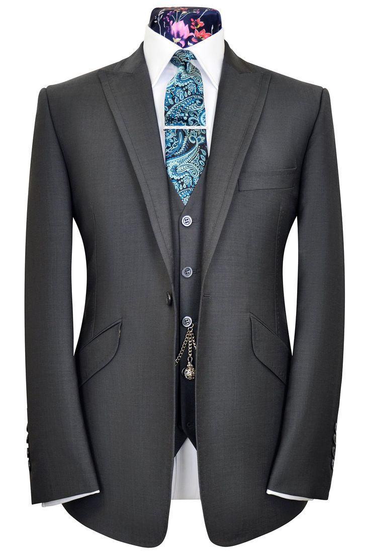 Classic charcoal grey three piece peak lapel suit, WH