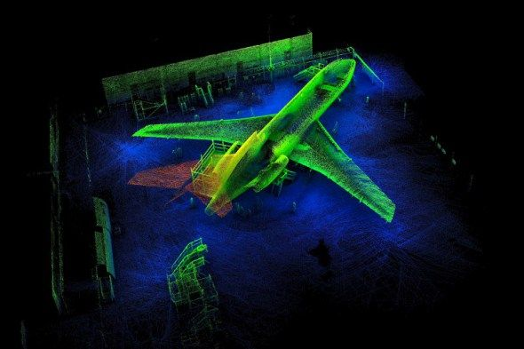 A 3D map of a Boeing 727 at Aviation Australia taken by Zebedee, our springy little laser scanner
