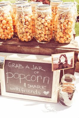 Wedding appetizer and table idea - could maybe use this idea for other foods besides popcorn?