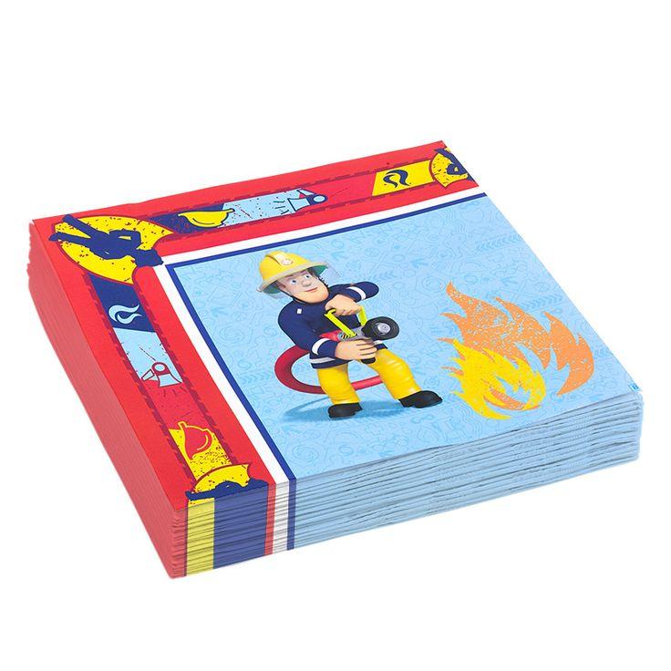 Set van 20 papieren Brandweerman Sam servetten. Kleed je brandweerman Sam kinderfeestje aan met deze servetten en bekijk de andere feestartikelen uit de Brandweerman Sam feestserie. Afmeting: 33 x 33 cm - Brandweerman Sam Servetten, 20st.