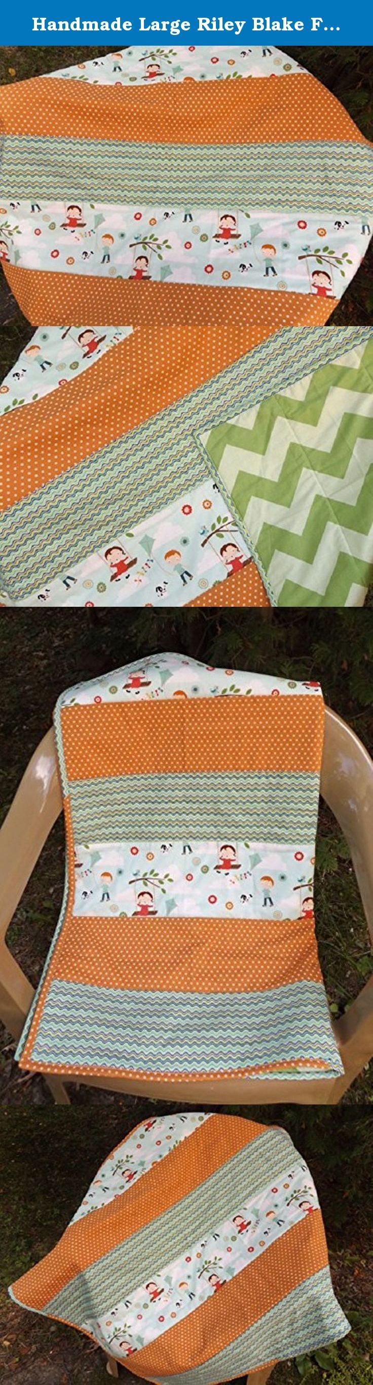 Handmade Large Riley Blake Fly a Kite Strip Crib Quilt - Modern Crib Quilt - Aqua, Green, Orange Strip Quilt. Cotton strip quilted crib quilt in modern designer fabrics using blues, greens, reds and oranges. The feature fabric has an adorable llittle boy and girl print and a beautiful color combination. The backer is a Riley Blake two tone green chevron. This quilt is perfect for your little one's nursery, and is sure to be a favorite. Both the top and backer are high quality designer...