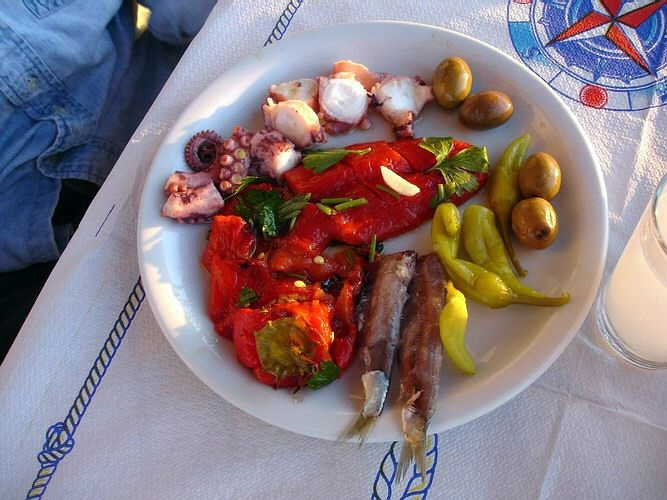 Ouzo and Mezedes.  Click picture if you like Mezedes. This photo is from Matt Barrett's Greece Travel website:  http://www.greecetravel.com
