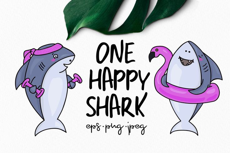 One Happy Shark | Design Bundles #freedownload #freebies #commercialuse