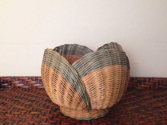 Vintage Tulip Basket with Blue Stripe by SophistiKateVintage