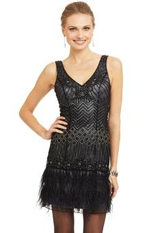 SUE WONG - Geometric Beaded Feather Dress
