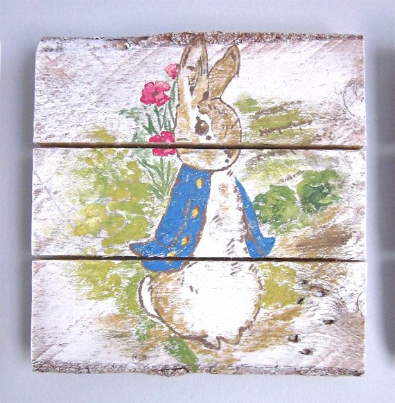 Peter Rabbit  Handpainted Wood Sign by SarahAnnByler on Etsy, $50.00