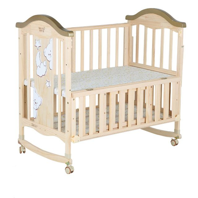 Smoothly Functional Wooden Baby Bed With Wheels Baby Cradle Crib