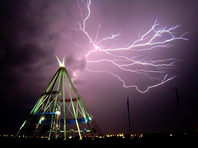 Lightning over the Teepee Medicine Hat, Alberta July 17 2012
