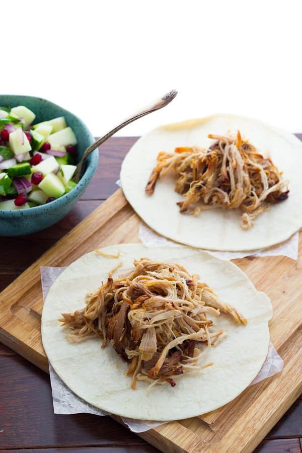 Apple Cider Slow Cooker Carnitas with Fresh Apple Salsa