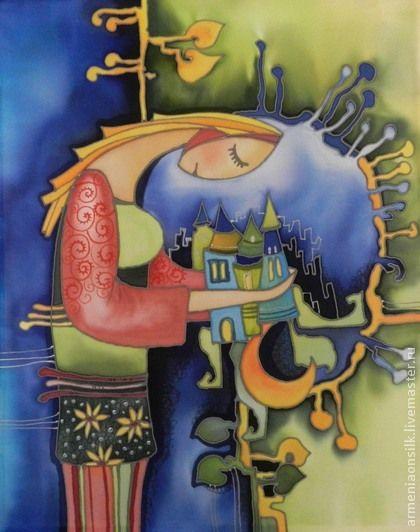 """Фэнтези ручной работы. Ярмарка Мастеров - ручная работа Батик панно """" Девушка из маленького города"""". Handmade."""