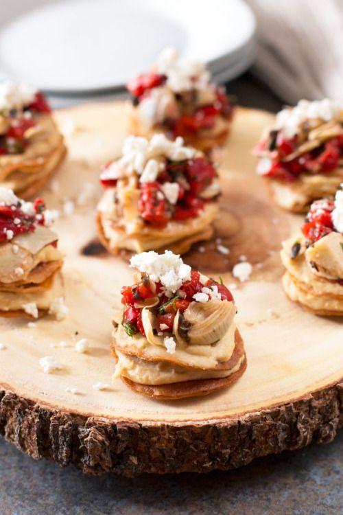 Greek Hummus Mini Tostada StacksReally nice recipes. Every  Mein Blog: Alles rund um die Themen Genuss & Geschmack  Kochen Backen Braten Vorspeisen Hauptgerichte und Desserts # Hashtag