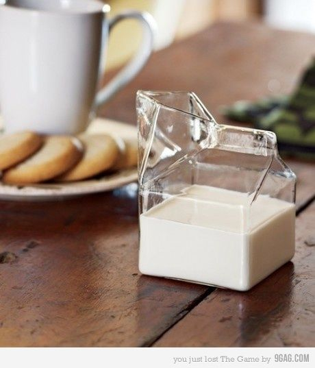 glass milk carton. make some sort of twist off top, plastic not glass.