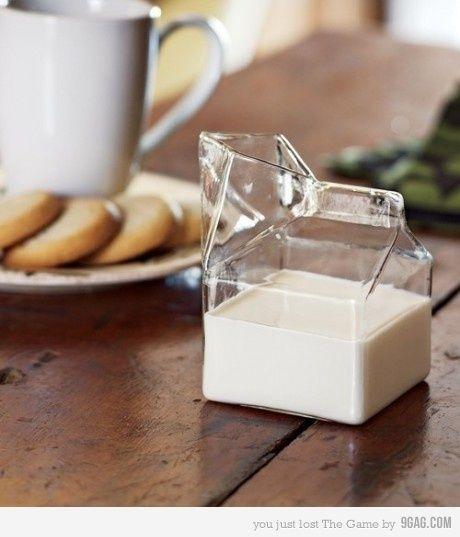 glass milk carton. make some sort of twist off top, plastic not glass.