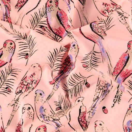 Stretch jersey lys koral med fugler