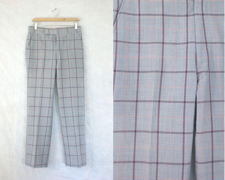 mens plaid pants size 32. mens dress pants. tartan pants. mens trousers. 1970s 70s pants blue red waist 32 x 30 inseam by LondonVtg on Etsy
