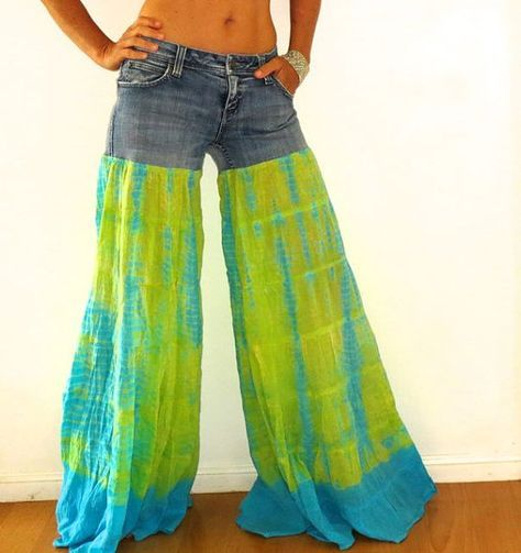 Bellbottom flared upcycled jeans blue green tie by immortalkraft, $45.00