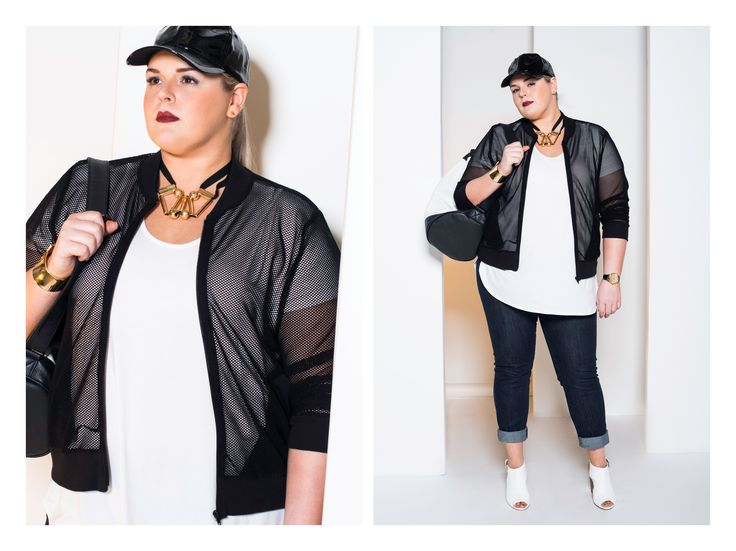 Borderline Sportsluxe Mesh Bomber $199 Surprise me open back tee $139   Jean Geanie skinny leg denim $199 www.harlowstore.com  http://www.harlowstore.com/products/borderline-sports-luxe-mesh-bomber  http://www.harlowstore.com/products/surprise-me-open-back-top-white