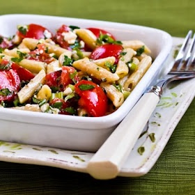 Penne Pasta with Tomato Herb Feta no-cook Sauce