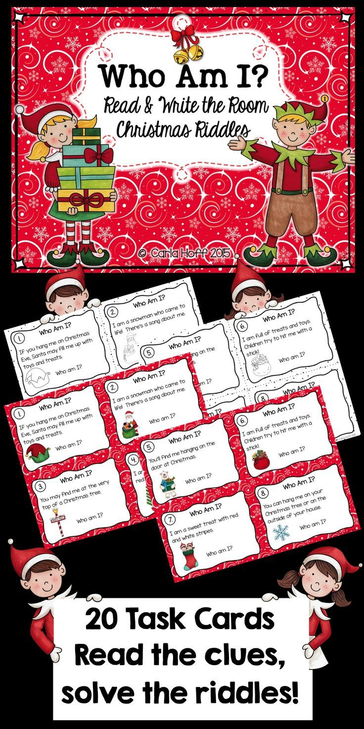 20 Christmas-themed task cards, each with a Christmas riddle to solve!  Read the clues, solve the riddles!  Great center or partner activity for Read & Write the Room!