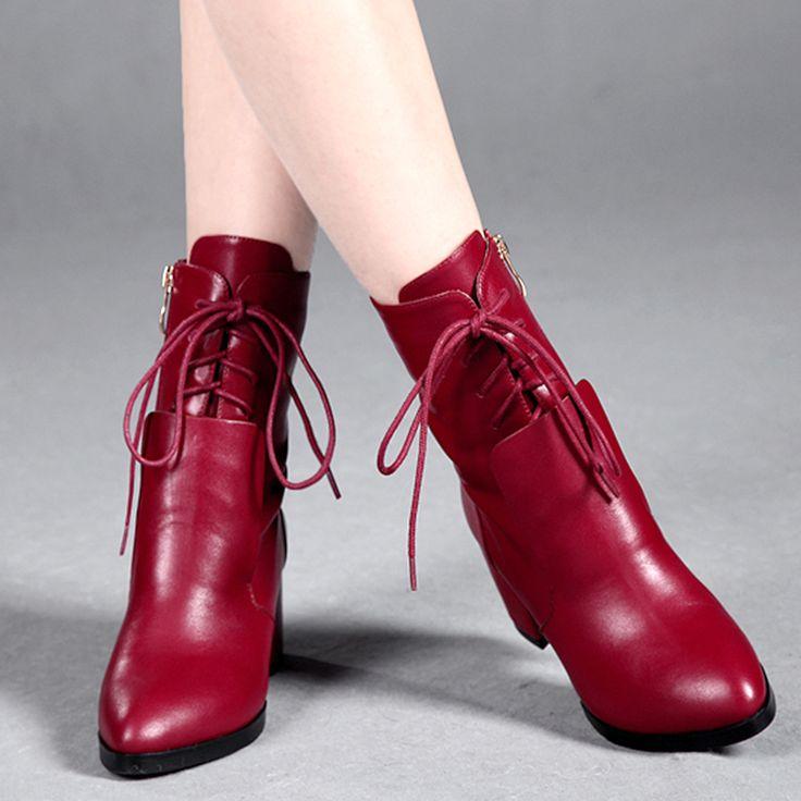 Модные сапоги весной и осенью 2014 женщин ботинки высокой моды Мартин сапоги толстые пятки новые модные ботинки женщин 3443,85