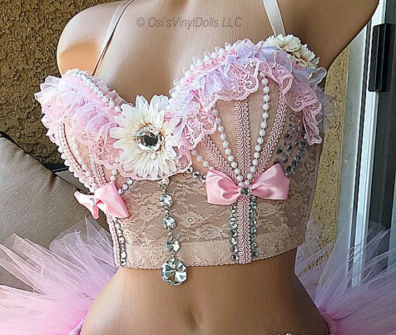 Rave Top Bustier Bra Size 32B Rave Corset Cropped Top