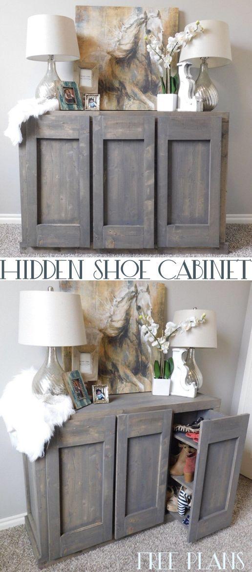 Hidden Shoe Cabinet with shoe storage #cabinet #hiddenstorage