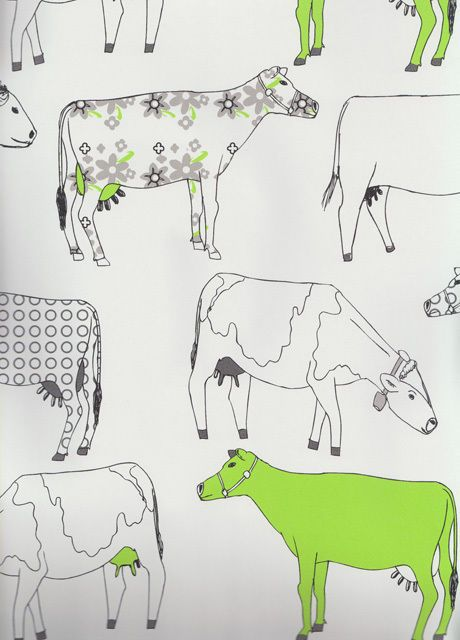 Contemporary Retro Farm Kitchen Wallpaper Shabby Chic COW Red Green Blue Vintage