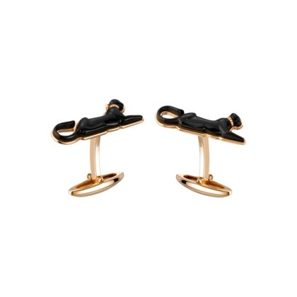 Cartier LYING PANTHER GOLD CUFFLINKS Yellow gold, black sculpted lacquer, diamonds. $8,000.