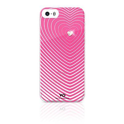 Cover per iPhone 5 e 5S rosa trasparente con elemento Swarovski bianco a forma di cuore. Protegge il tuo Apple da urti e graffi lasciando libero accesso al touchscreen, fotocamera e led, pulsanti e connettori.