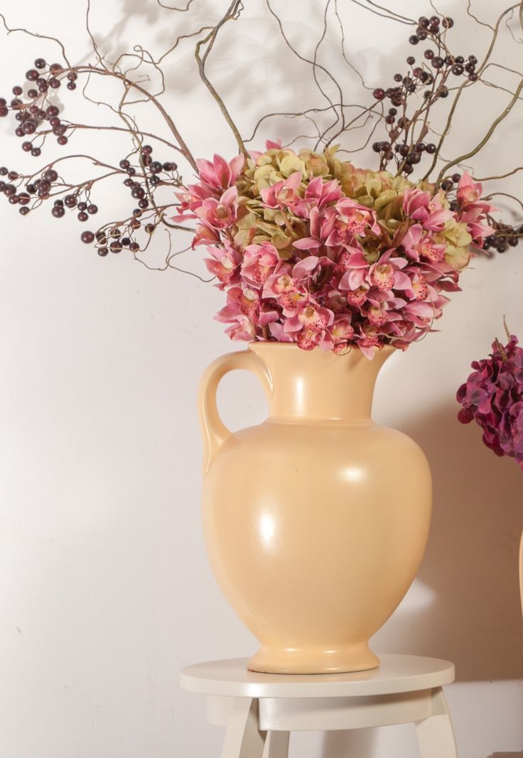 Pink Hyacinths, pink lights, in Yellow Matte Vases