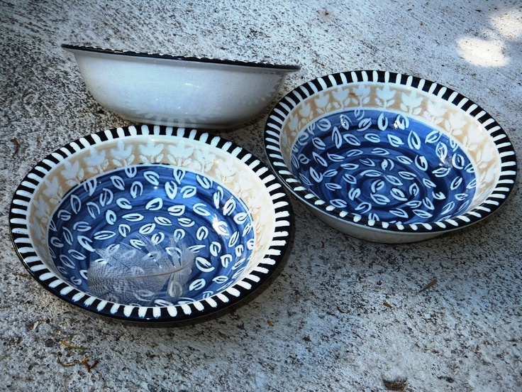 Guinea fowl designed cereal bowls