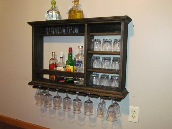Hanging Bar Mini Bar 3' x  2' Ebony Stain wall by DogWoodShop