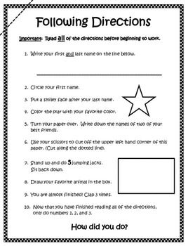 C B Be Ed Ad Eafa Ce Fde on worksheet following multi step directions
