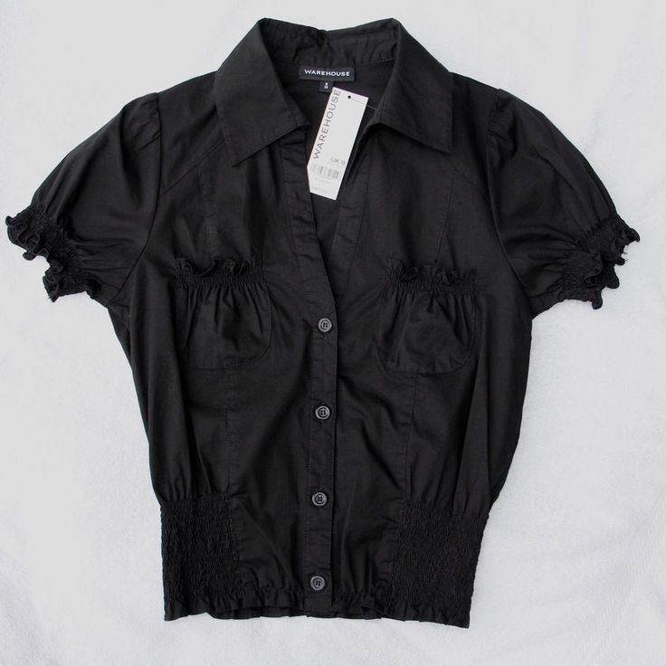 Warehouse Black Top UK 8 Fitted Cotton Mix Blouse Casual Mint NWT