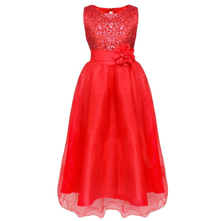 Tiaobug festliches Mädchen Kleid Hochzeit Partykleid Festzug Pailletten Tüll Blumenkleid (134-140 (Herstellergröße 160), Rot)