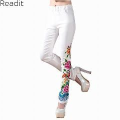 [ 23% OFF ] Black And White Trousers Spring Autumn Women New Large Size Casual Embroidery Flowers Skinny Elastic Waist Long Pant P1802