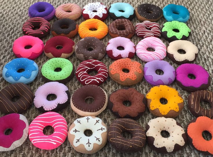 """It's time to make the """"Felt"""" donuts! A fresh batch of FELT DONUTS are ready!! For Dramatic Play, Check out my Etsy shop at Felt Sew Real, Great gift ideas!"""