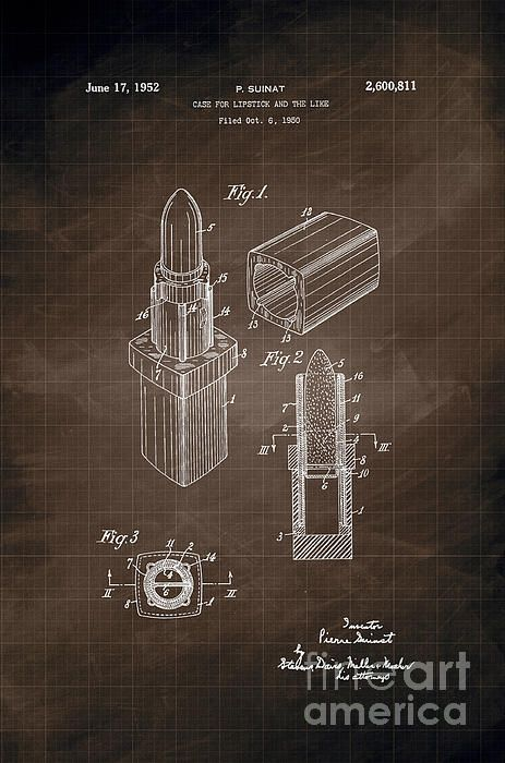 Best 100 patent and blueprint fine art prints images on pinterest 1952 chanel lipstick case patent art in white on dark gray graph paper background patent malvernweather Images