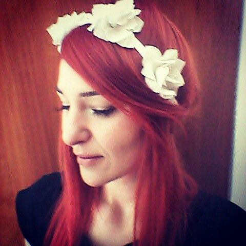 Diy flower headband, recycled from old tee