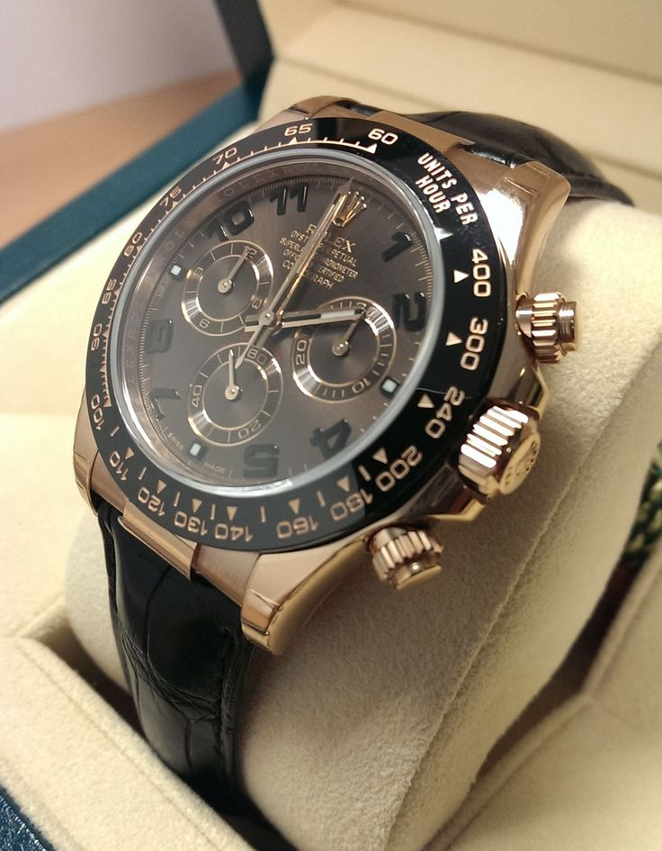 Sweet like Chocolate http://www.globalwatchshop.co.uk/rolex-daytona-116515ln-chocolate-dial-everose-with-leather-strap.html?utm_content=bufferdc48c&utm_medium=social&utm_source=pinterest.com&utm_campaign=buffer Back in stock, Rolex Daytona with Choc dial