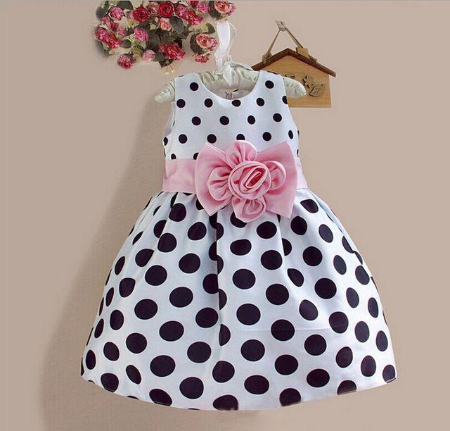 2015 nuevo vestido sin mangas ocasional de la muchacha adorable de dress kids baby girls Polka Dot dress 3 color. 2-8 años