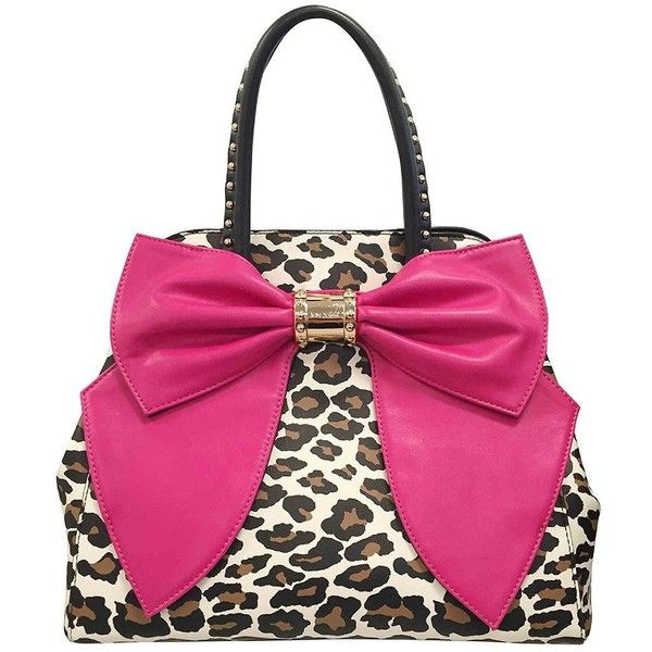Betsey Johnson Oh Bow Satchel (165 CAD) ❤ liked on Polyvore featuring bags, handbags, pink satchel, leopard purse, bow handbag, betsey johnson satchel and bow purse