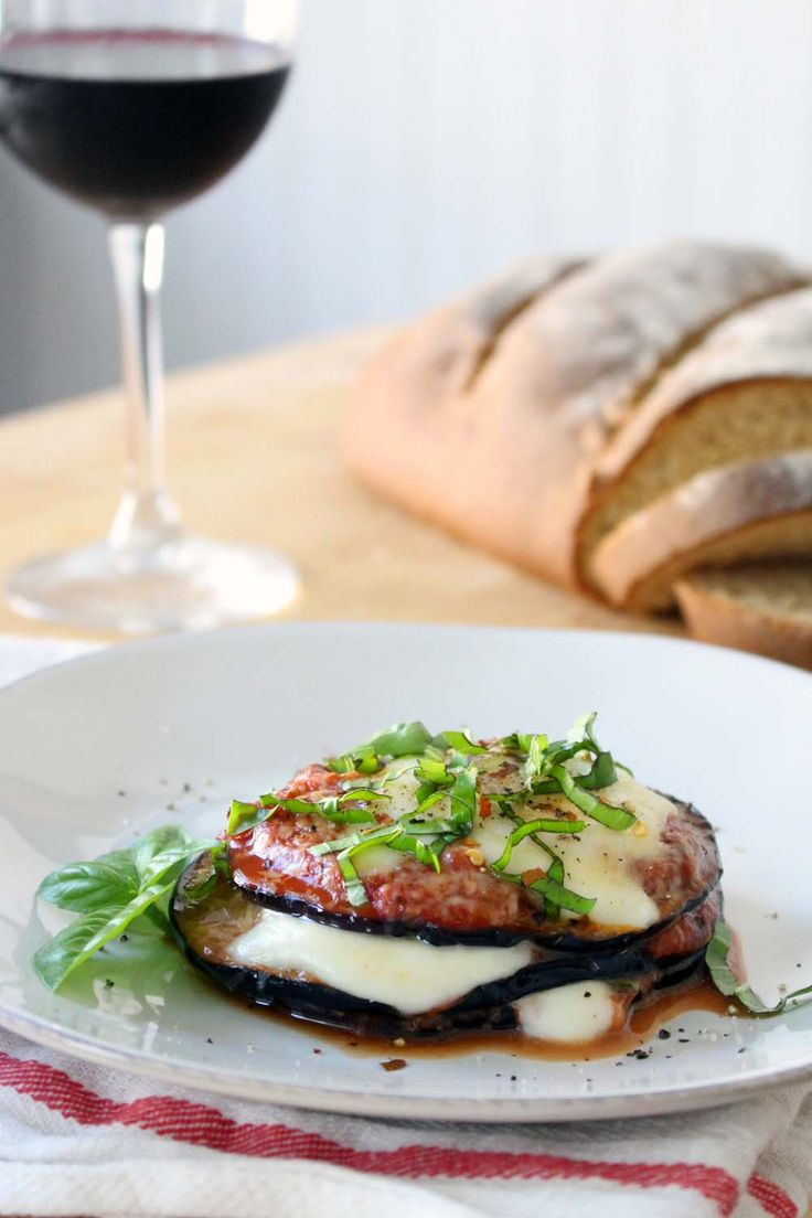 These eggplant parmesan stacks are a lighter, quicker version of traditional eggplant parmesan. Eggplant is sauteed in olive oil, then stacked with sauce, fresh mozzarella and parmesan, and basil, and baked! Delicious, fresh, and couldn't be easier.