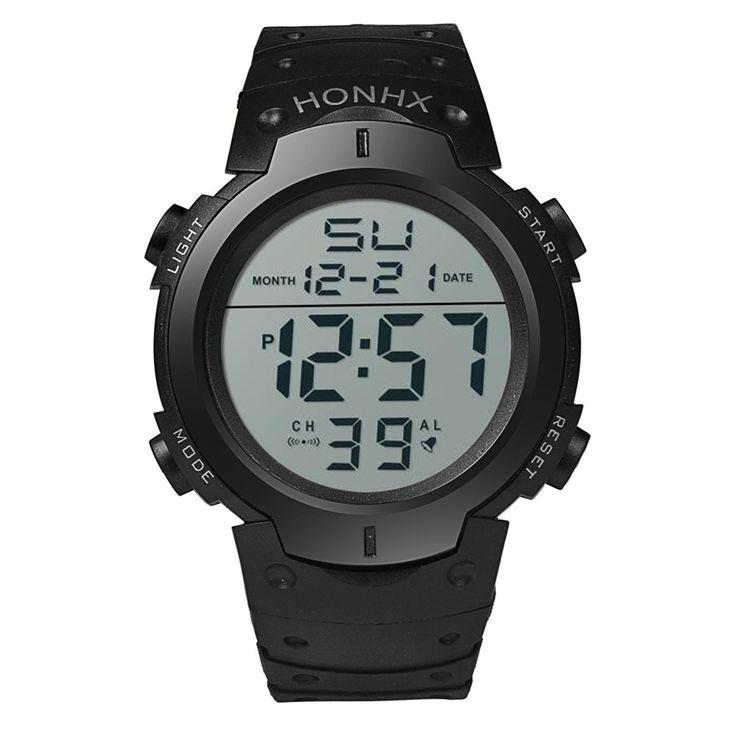 HONHX Mens LCD Digital Watches Men Boys Life Waterproof Rubber Sport Stopwatch Date Clock Wrist Watch Male Hours Relogio #JOYL - Online Shopping for Watches