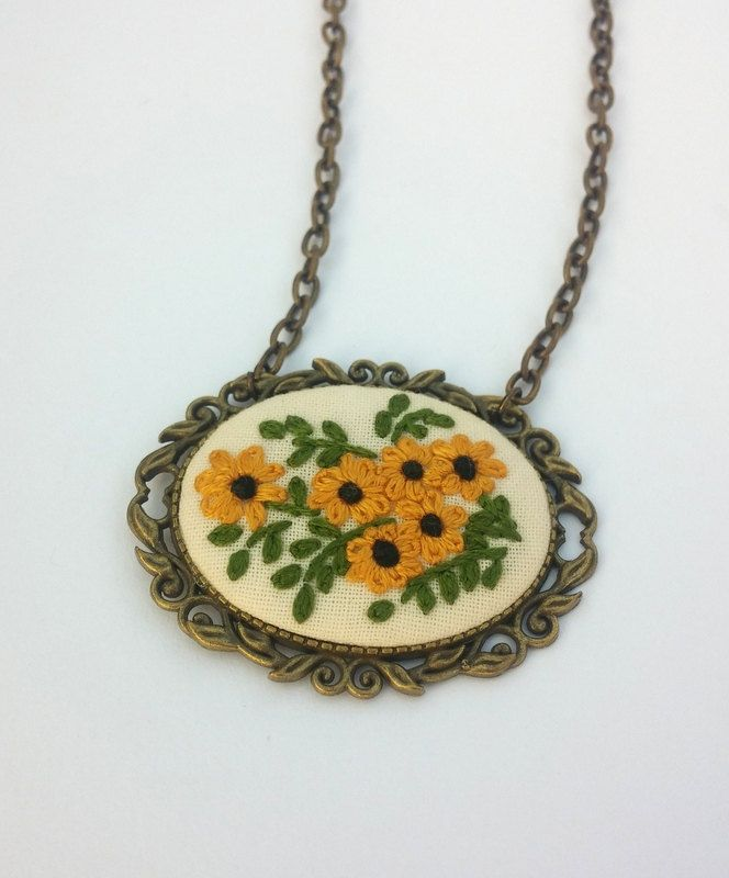 Sunflower Necklace, Yellow Flower Necklace, Boho Chic Necklace, Fabric Jewelry by RedWorkStitches on Etsy