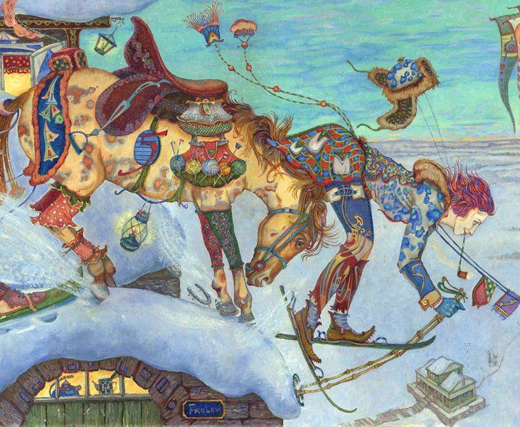 Сообщество иллюстраторов / Иллюстрации / Фролов Петр / Ушанки и будёновки,или вечерние полёты в Чердыне,фрагмент с лошадью