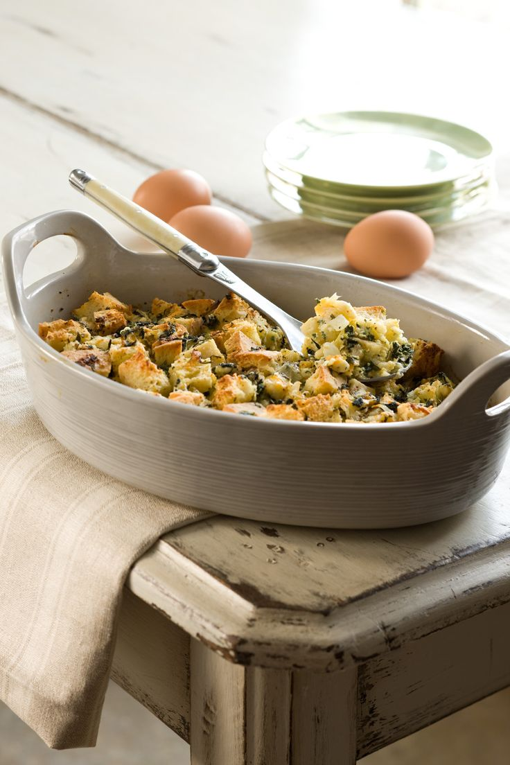 Herbed Spinach and Goat Cheese Strata | Recipe