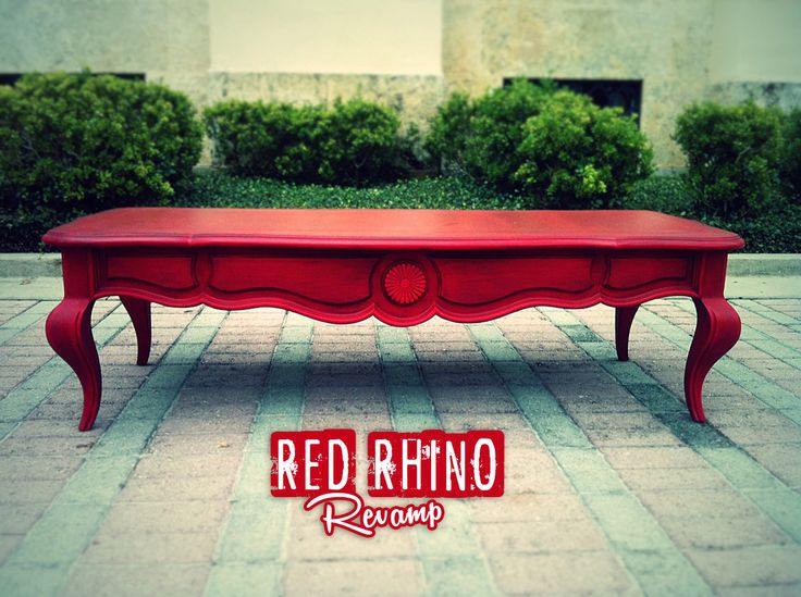 Red Coffee Table - Lush Aged Red Coffee/Cocktail Table // SOLD by RedRhinoRevamp on Etsy