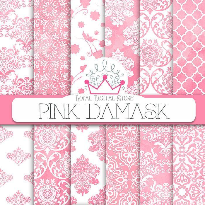 """Damask digital paper: """"PINK DAMASK"""" with pink damask background, damask pattern, damask scrapbook paper, pink watercolor damask #watercolor #pink #damask #white #planner #wedding #digitalpaper #scrapbookpaper"""